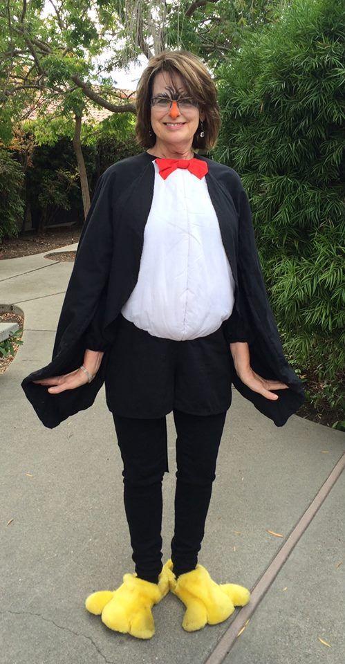 Woman in penguin costume